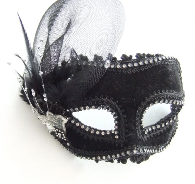 Black Velour mask with headband